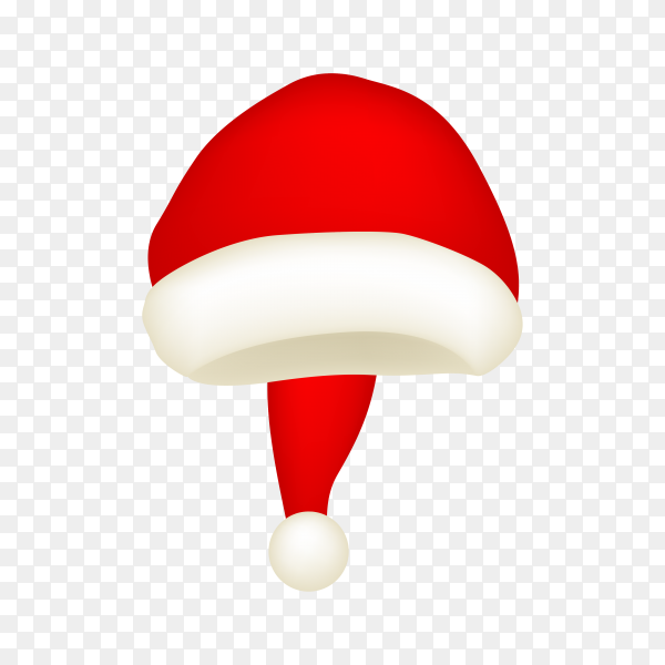 Realistic Santa Claus hat on transparent PNG