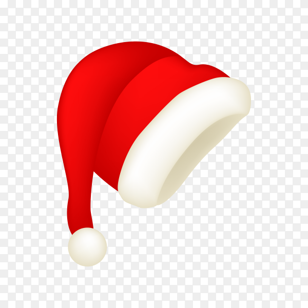 Realistic Santa Claus hat on transparent background PNG