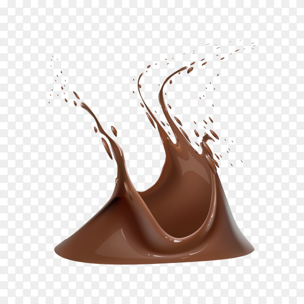 Realistic chocolate splash on transparent background PNG