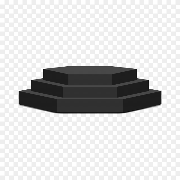 Realistic empty black podium to show product on transparent background PNG