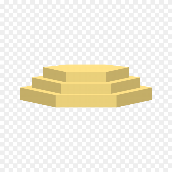 Realistic empty gold podium to show product on transparent background PNG