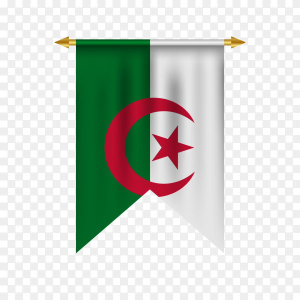 Realistic pennant with Algeria flag premium vector PNG