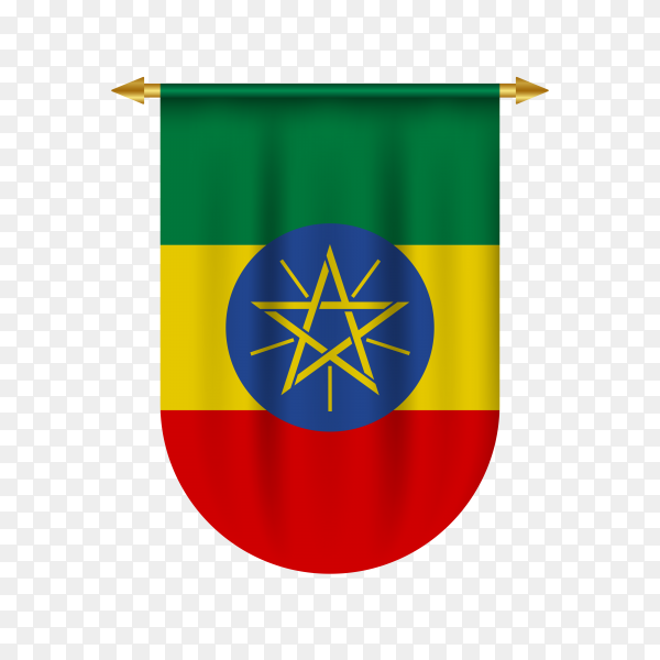 Realistic pennant with flag of Ethiopia on transparent PNG