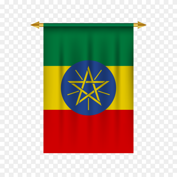 Realistic pennant with flag of Ethiopia premium vector PNG