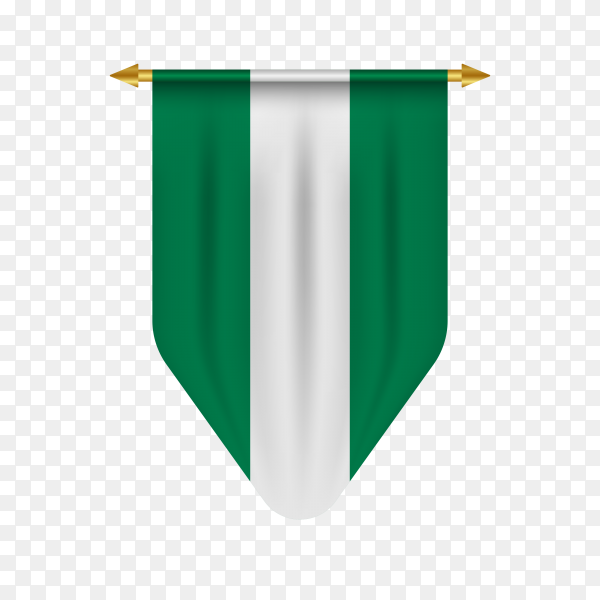 Realistic pennant with flag of Nigeria premium vector PNG
