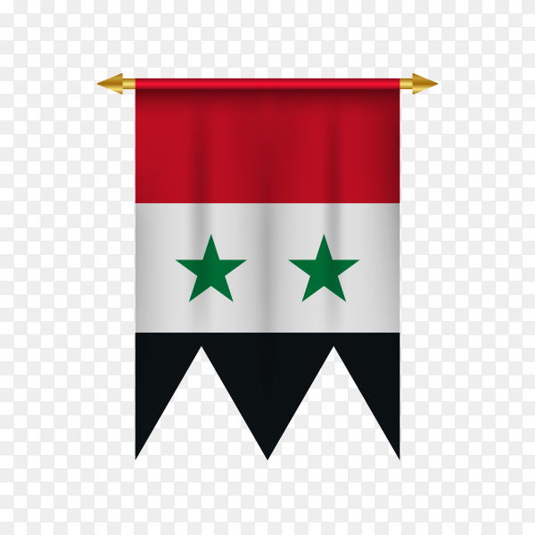 Realistic pennant with flag of Syria on transparent background PNG
