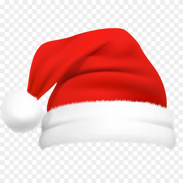 Realistic red Santa Claus hat isolated on transparent background PNG