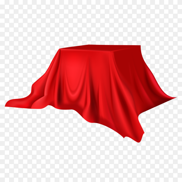 Realistic round product podium display covered with red silk on transparent background PNG