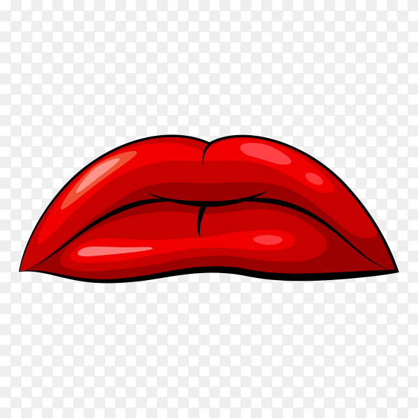 Realistic sad female lips on transparent background PNG
