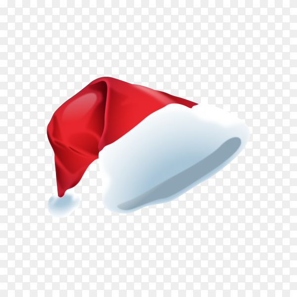 Realistic Santa's hat on transparent PNG