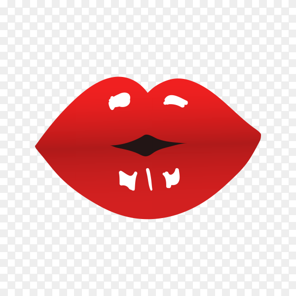 Red female lips isolated on transparent background PNG