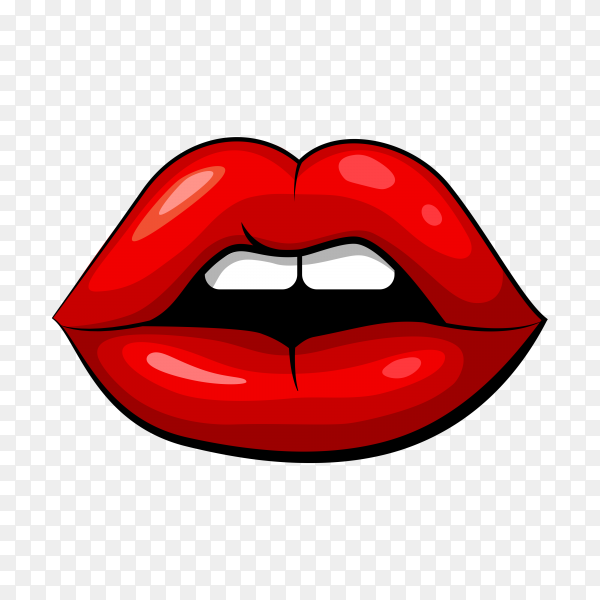 Red female mouth shape with teeth on transparent background PNG