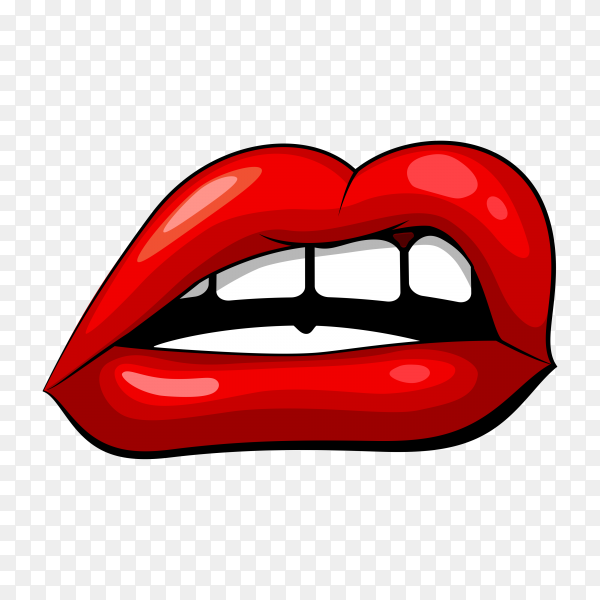 Red female mouth shape with teeth premium vector PNG