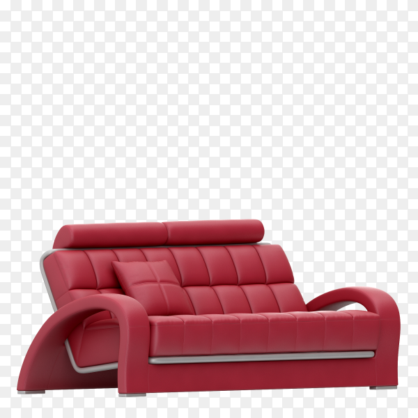 Red leather sofa realistic on transparent background PNG