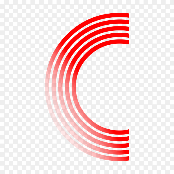 Red letter C isolated on transparent background PNG