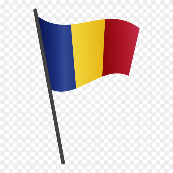 Romania flag isolated on transparent background PNG