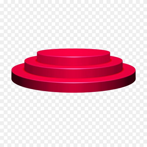Round Red podium illustration on transparent background PNG