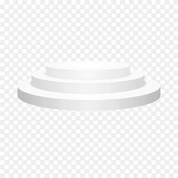 Round white podium illustration on transparent background PNG
