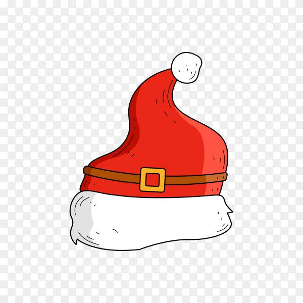 Santa's hat in flat design on transparent PNG