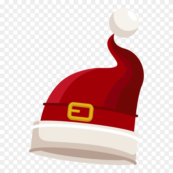 Santa Claus cartoon red hat on transparent background PNG