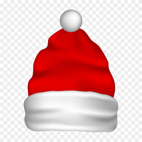Santa Claus red hat isolated on transparent background PNG