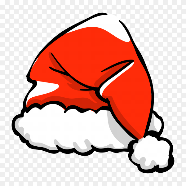 Santa Claus cartoon hat illustration on transparent background PNG