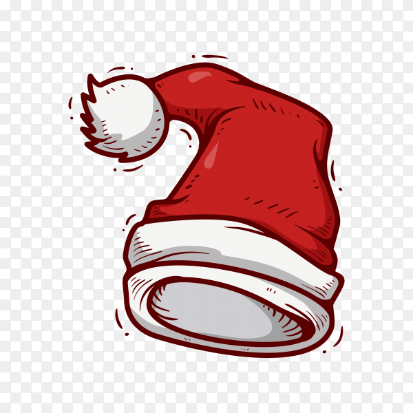 Santa Claus hat in flat design Clipart PNG