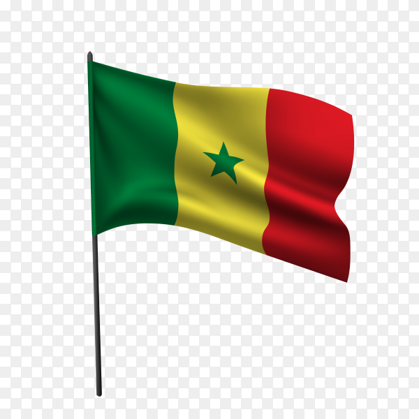 Senegal flag waving on a flagpole on transparent background PNG