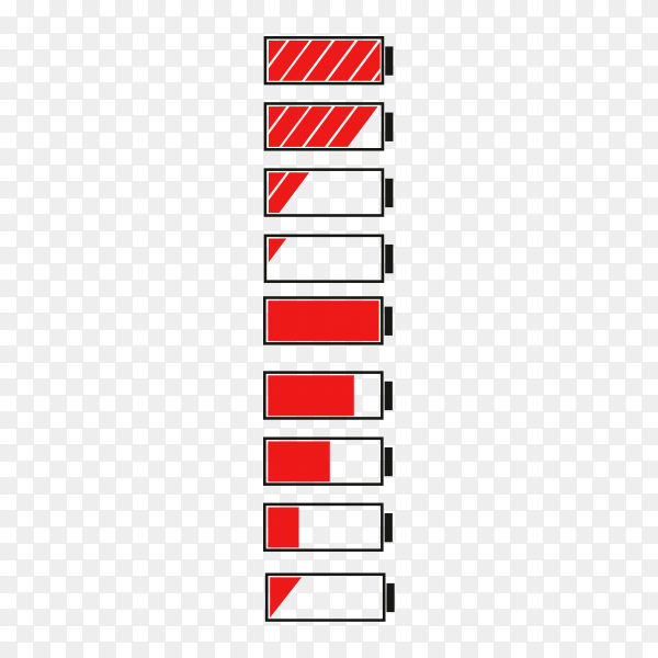 Set of battery charge indicators with low and high energy levels isolated on transparent background PNG