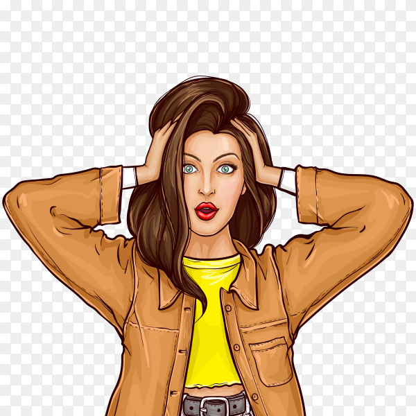 Shocked girl holding hands on head in pop art style on transparent background PNG