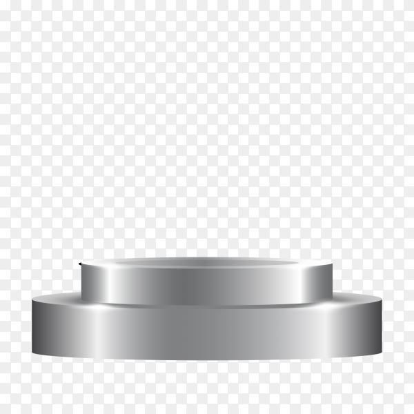 Silver round podium on transparent background PNG