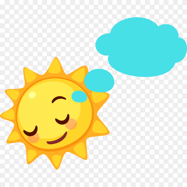 Sleeping Sun face on transparent background PNG