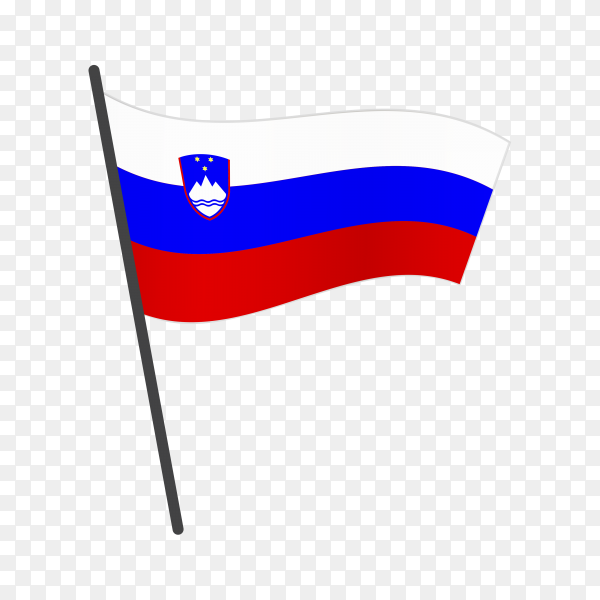 Slovenia flag waving on a flagpole on transparent background PNG