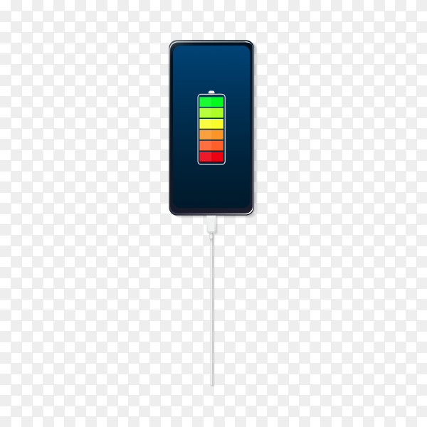 Smartphone with battery charge level indication on transparent background PNG