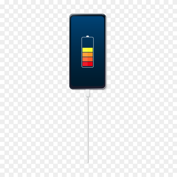 Smartphone with battery charge level indicators with usb isolated premium vector PNG