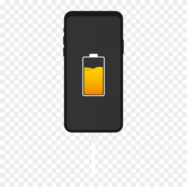 Smartphone with battery charge on transparent background PNG