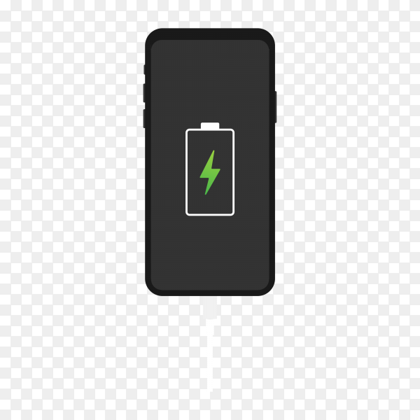 Smartphone with battery charge premium vector PNG