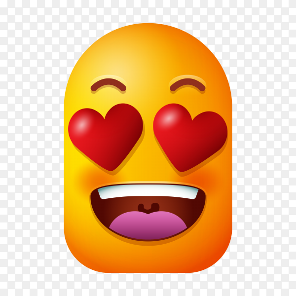 Smile in love emoticon on transparent background PNG