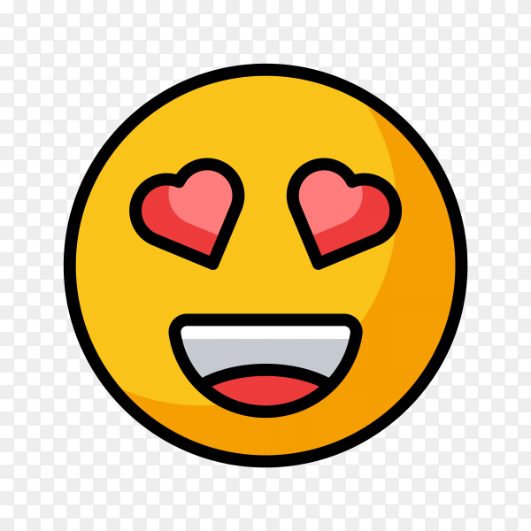 Smiling Emoji Face with Heart-Eyes on transparent background PNG