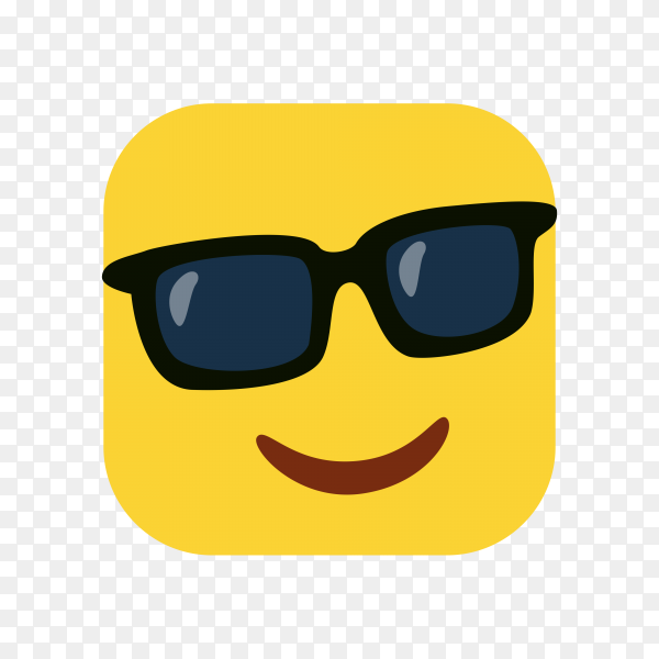 Smiling Face with Sunglasses Emoji on transparent background PNG