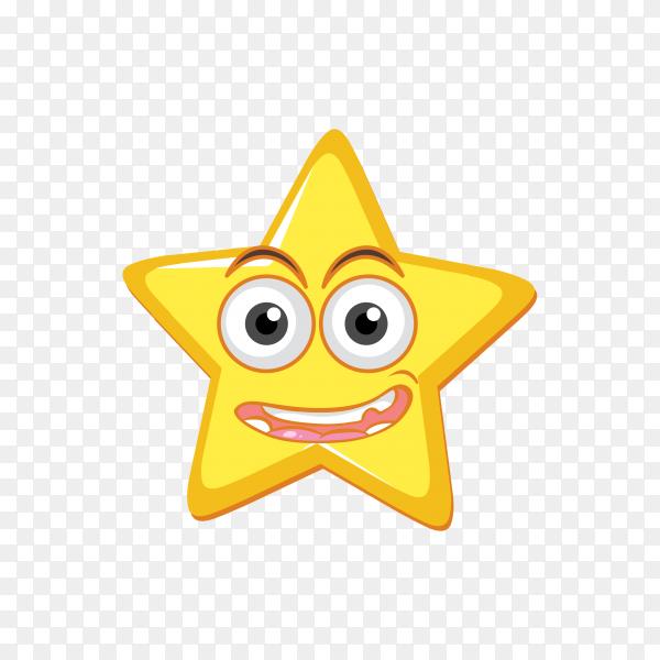 Smiling Star emoji face on transparent background PNG