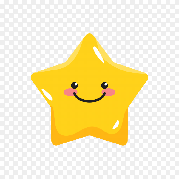 Smiling Star face isolated premium vector PNG