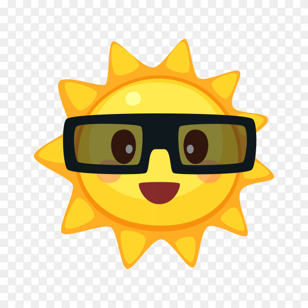 Smiling Sun face with sunglasses on transparent background PNG