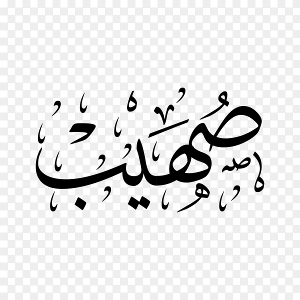Soheeb Name with Arabic calligraphy on transparent background PNG