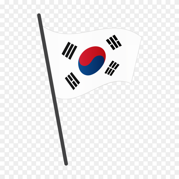 South korea flag isolated on transparent background PNG