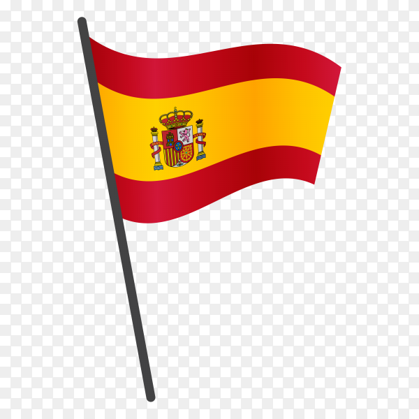 Spain flag waving on a flagpole on transparent background PNG
