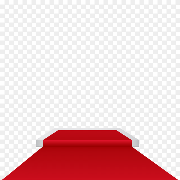Stage podium with red carpet on transparent background PNG