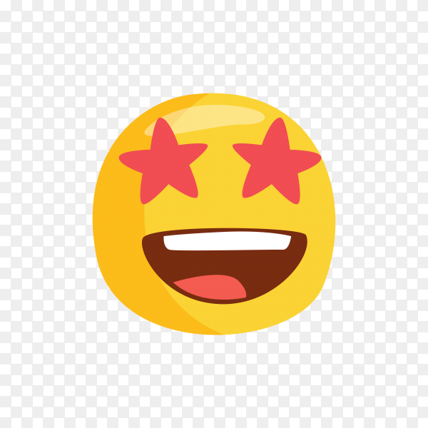 Star-Struck Emoji face on transparent background PNG