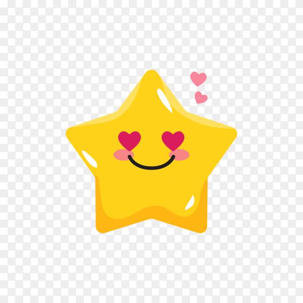 Star emoji in love on transparent background PNG