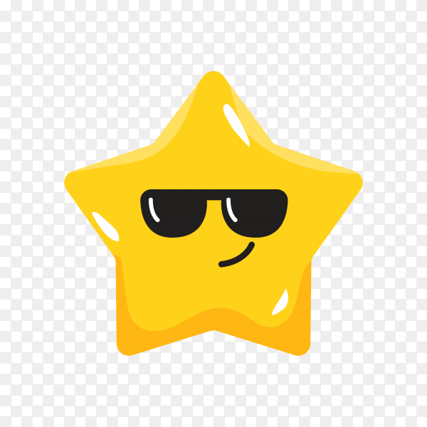 Star emoji with Sunglasses on transparent background PNG